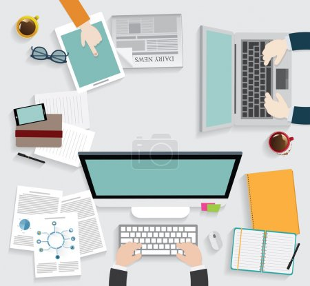 Illustration for Realistic workplace organization. Top view with textured table, computer, smartphone, graphic tablet, note paper, glasses, newspaper, diary and coffee mug. - Royalty Free Image