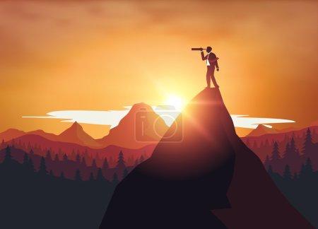 Illustration for Businessman standing on top mountrain looking through binoculars - Royalty Free Image