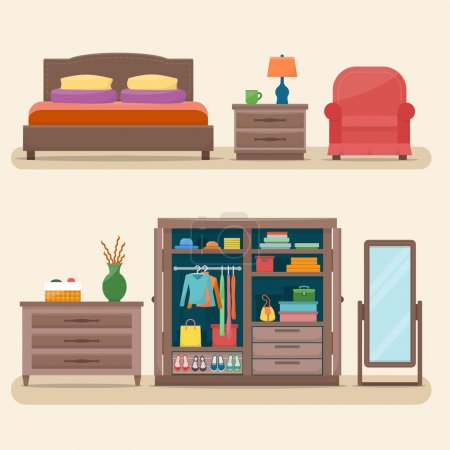 Illustration for Bedroom with furniture. Wardrobe with clothes and mirror. Flat style vector illustration - Royalty Free Image