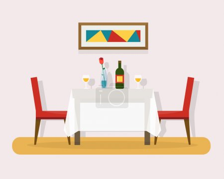 Illustration for Dining table for date with glasses of wine, flowers and chairs. Flat style vector illustration - Royalty Free Image