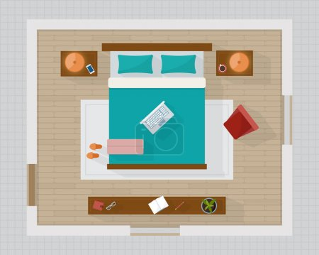 Illustration for Bedroom with furniture overhead top view. Apartment plan. Flat style vector illustration. - Royalty Free Image