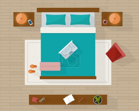 Illustration for Bedroom with furniture overhead top view. Apartment plan. Flat style vector illustration - Royalty Free Image