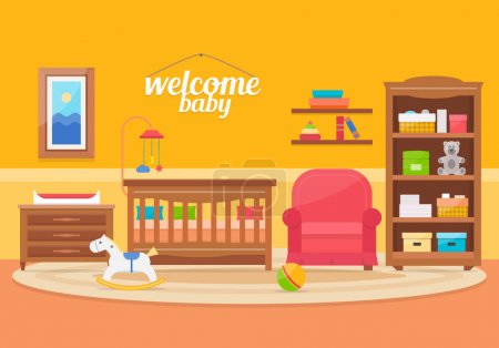 Illustration for Baby room with furniture. Nursery and playroom interior. Flat style vector illustration - Royalty Free Image