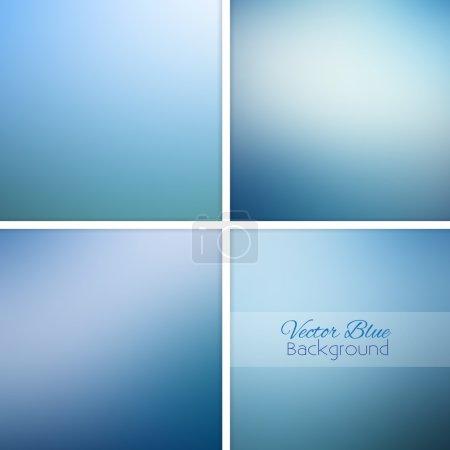 Illustration for Blue abstract blurred background set. Vector illustration. - Royalty Free Image