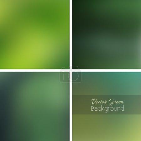 Illustration for Ecology green nature blurred background set. Vector unfocused illustration. - Royalty Free Image