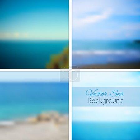 Illustration for Sea blurred background set. Vector illustration. - Royalty Free Image