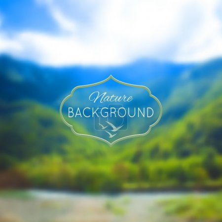 Illustration for Blurred nature unfocused background. Mountains, forest and lake. Vector illustration. - Royalty Free Image