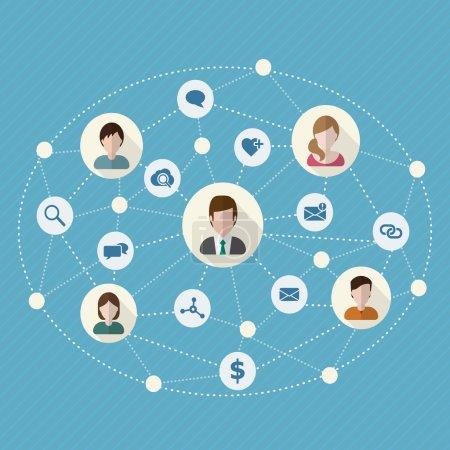Illustration pour Les gens communiquent des icônes plates sur des boutons circulaires pour les médias sociaux et le concept de connexion réseau. Illustration vectorielle . - image libre de droit