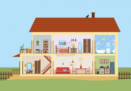 Illustration for House in cut. Detailed modern house interior. Rooms with furniture. Flat style vector illustration. - Royalty Free Image