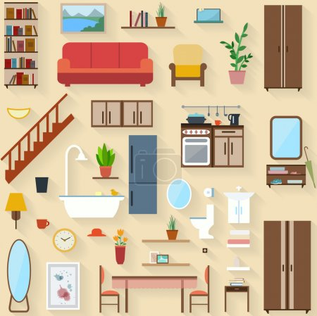 Illustration for Furniture set for rooms of house. Flat style vector illustration. - Royalty Free Image