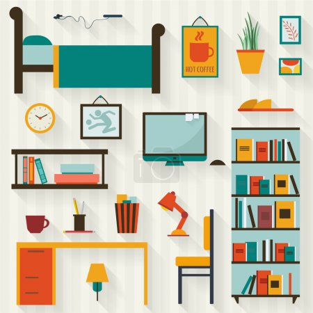 Illustration for Single young man or teenager room interior with furniture icon set. Flat style vector illustration. - Royalty Free Image