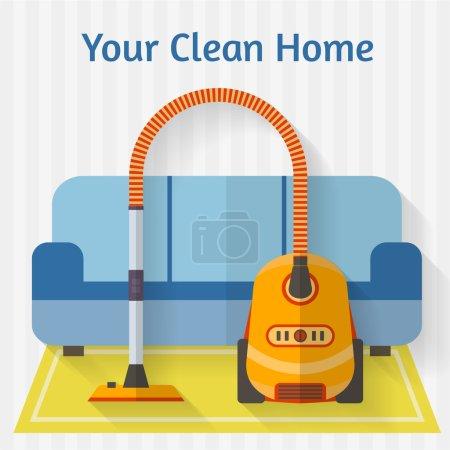 Vacuum cleaner in interior with sofa
