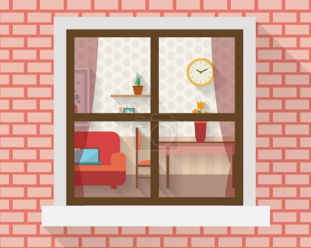Illustration for Living room with furniture through the window. Flat style vector illustration. - Royalty Free Image