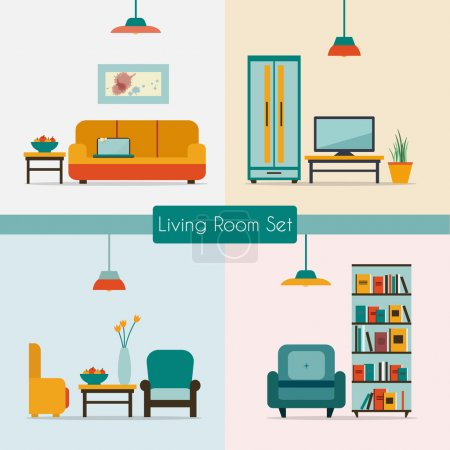 Illustration for Living room set with furniture and long shadows. Flat style vector illustration. - Royalty Free Image