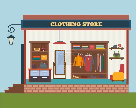 Illustration for Clothing store. Man and woman clothes shop and boutique. Shopping, fashion, bags, accessories. Flat style vector illustration - Royalty Free Image