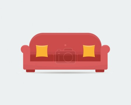 Sofa in interior, flat style