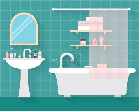 Illustration pour Salle de bain avec meubles et ombres longues. Illustration vectorielle de style plat - image libre de droit