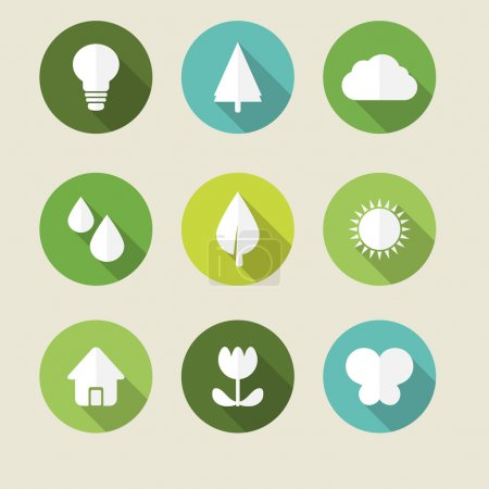Illustration for Ecology icons. Vector icon ecology set. Environment protection. Flat style vector illustration - Royalty Free Image