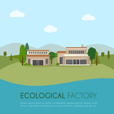 Ecological factory in flat style