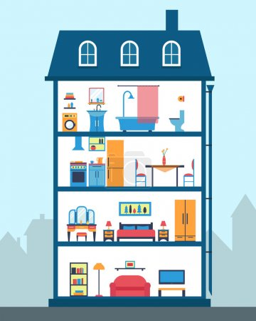 Illustration for House in cut. Detailed modern house interior. Rooms with furniture. Flat style vector illustration - Royalty Free Image