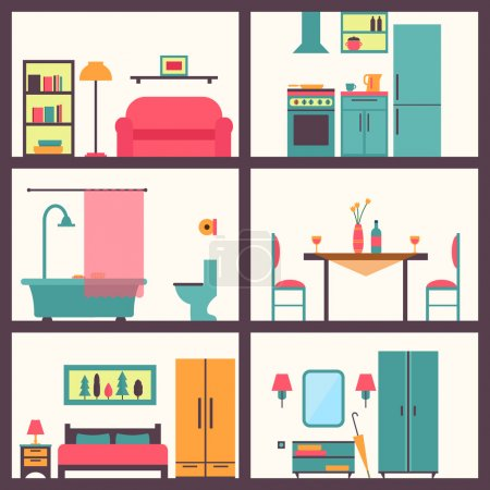 Illustration for House rooms with furniture icons. Flat style vector illustration - Royalty Free Image