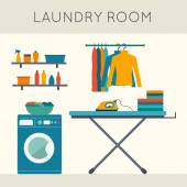 Laundry room with washing machine ironing board clothes rack with things facilities for washing washing powder and mirror Flat style vector illustration