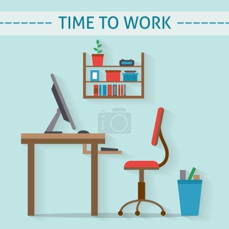 Office workplace flat design