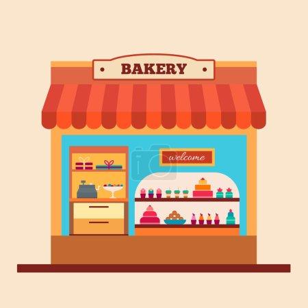 Illustration pour Boulangerie. Café et marché. Café, gâteau, biscuits, muffins, café. Illustration vectorielle de style plat - image libre de droit