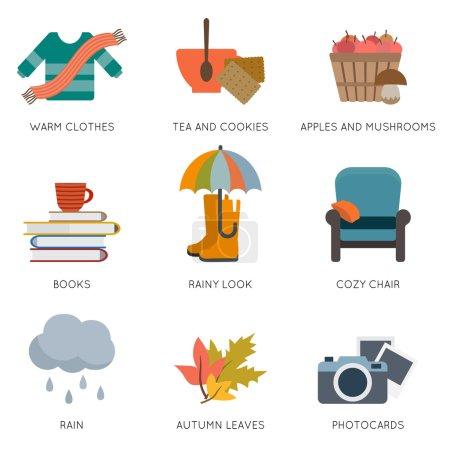 Photo pour Objets d'automne : pull, tasse de thé, chaise, livres. parasol, feuilles et autres. Illustration vectorielle de style plat - image libre de droit