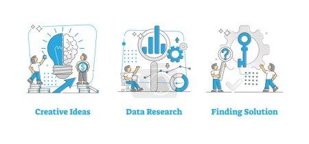Illustration pour Idées créatives, recherche de données et recherche d'une solution esquissent des illustrations ponctuelles avec ampoule et processus de pensée cérébrale, analyse de graphiques d'information et trouver la bonne clé pour la métaphore du problème - image libre de droit