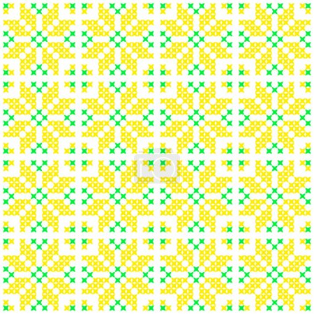 Seamless texture with green and yellow abstract flowers