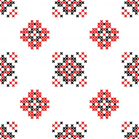 Seamless texture with red and black abstract flowers