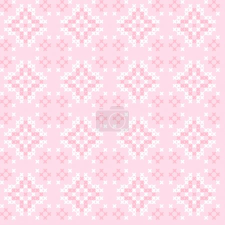 Seamless texture with pink and white abstract flowers