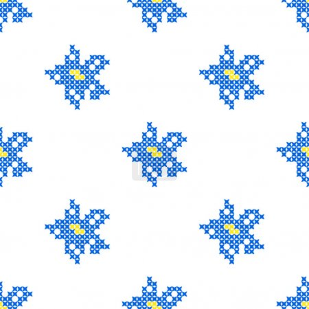Seamless texture with abstract embroidered blue flowers