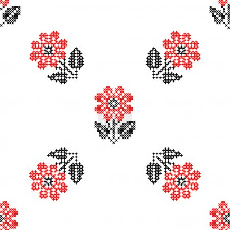 Seamless isolated texture with abstract red embroidered flowers