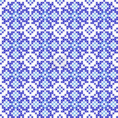 Seamless texture with abstract embroidered blue patterns
