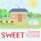 Abstract illustration of sweet home with embroidery