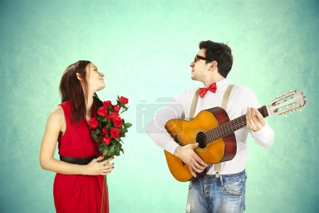 Photo for Funny Valentine's Day, series of different approaching acts - Royalty Free Image
