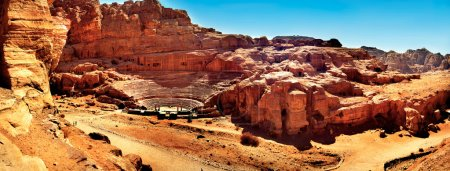 Panoramic of the theater in Petra Jordan