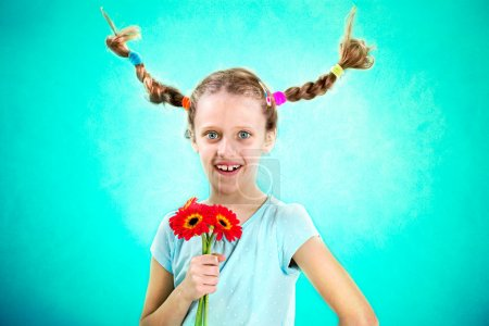 Cool and funny girl showing her flowers