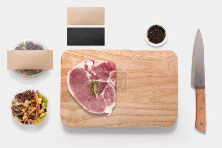 Design concept of mockup bbq steak set isolated on white backgro