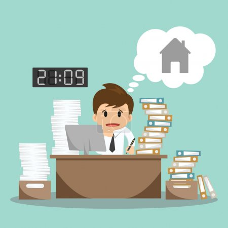 Businessman hard work on office vector illustration