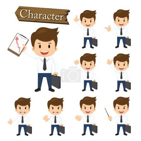 Businessman character set vector illustration
