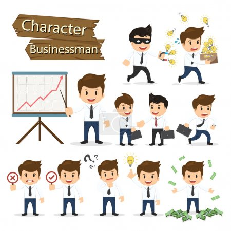 Set of business character expressing feeling and emotional conce