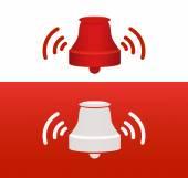 červená, zvonění zvonu vektorové ikony ilustrace symbolu znamení