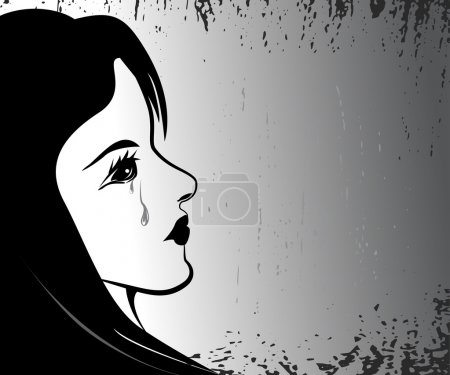 Illustration for Young woman crying. vector illustration - Royalty Free Image