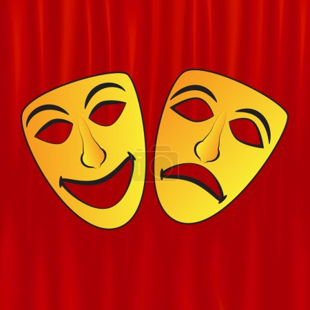 Drama masks on red curtains