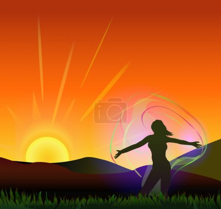 Illustration for Woman feeling nature energy. vector illustration - Royalty Free Image