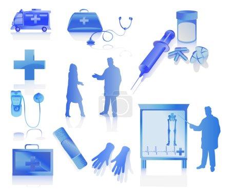 Illustration pour Collection médicale avec les médecins. illustration vectorielle isolée sur fond blanc - image libre de droit