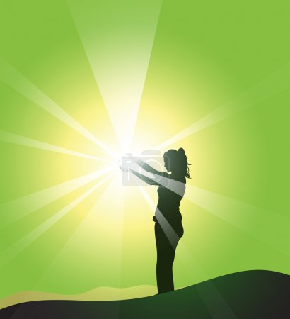 Illustration for Woman feels the nature energy doing yoga - Royalty Free Image